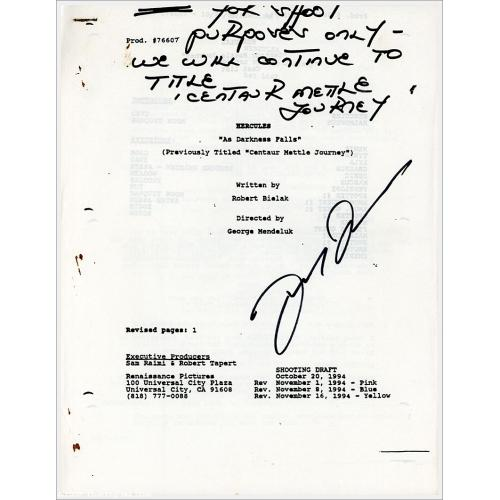 Autographed Script by Lucy Lawless: As Darkness Falls