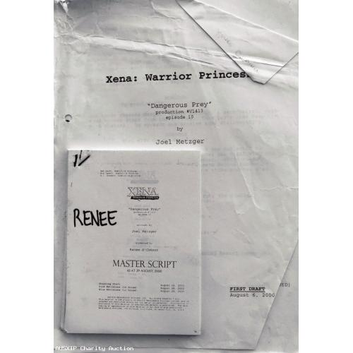 Autographed Original Renee O'Connor Dangerous Prey Xena Scripts (3) [HOB]
